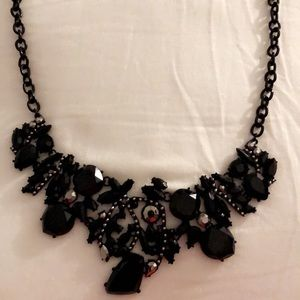 Black statement necklace with rhinestones